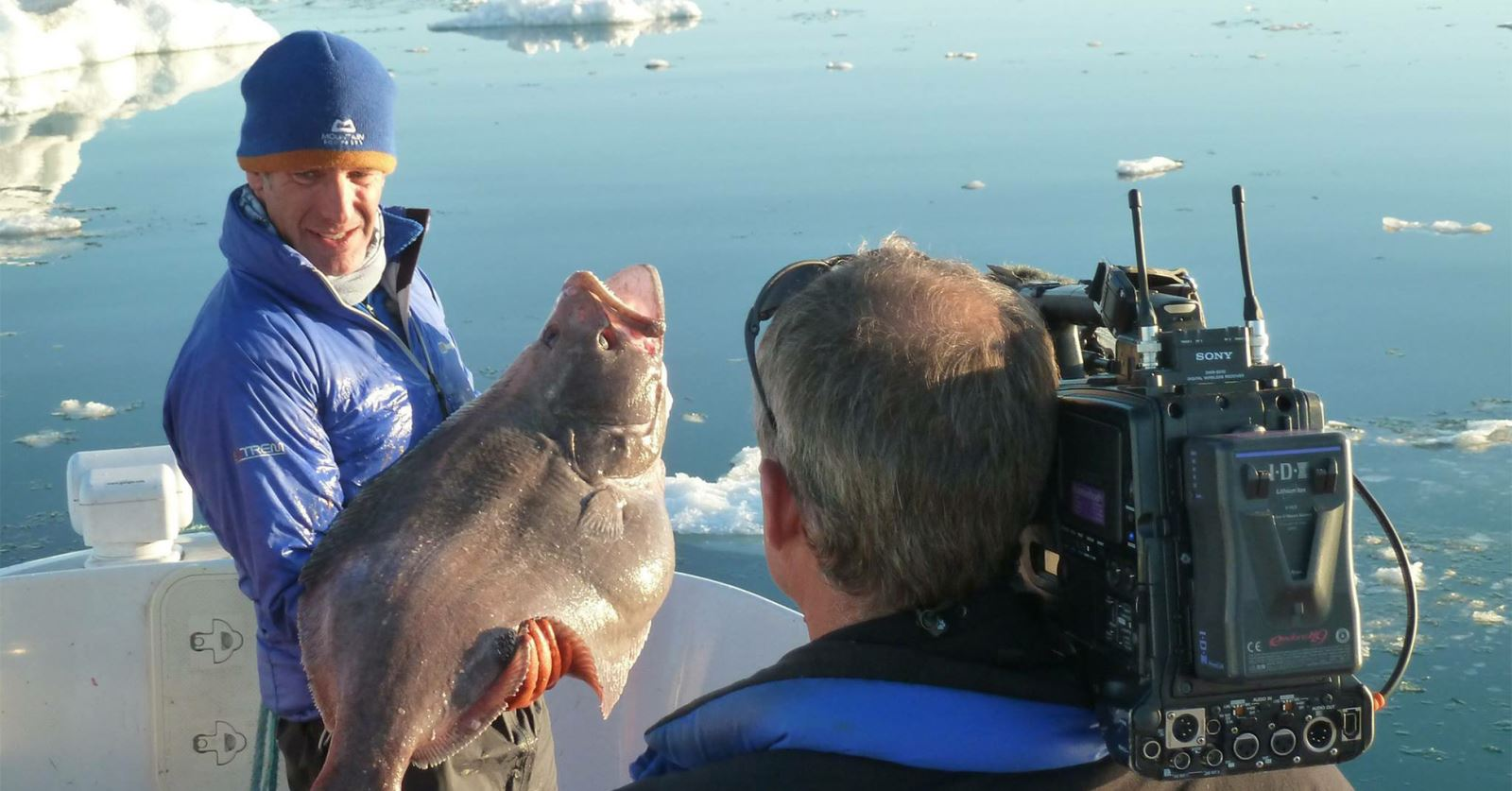 GTC member Richard Cook filming 'Extreme Fishing' with Robson Green in Greenland