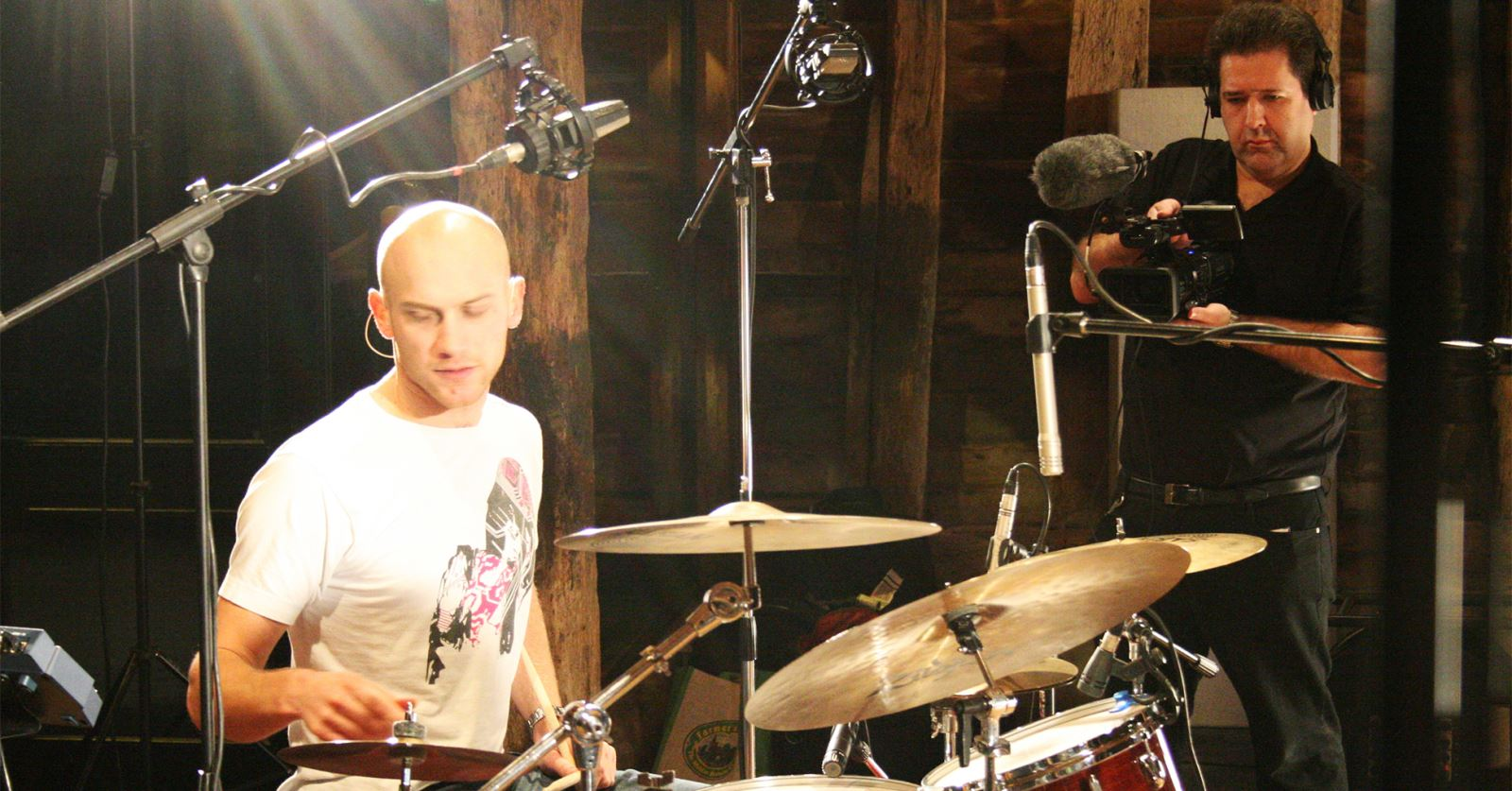 GTC member Oliver Smith filming a recording studio session for the John Randall Quintet